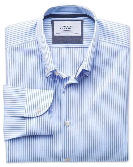 Classic fit button-down collar non-iron business casual white and sky blue striped shirt
