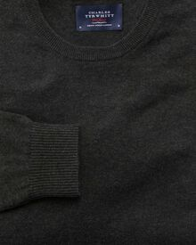 Charcoal cotton cashmere crew neck jumper
