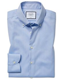 Slim fit button-down collar non-iron business casual sky blue shirt