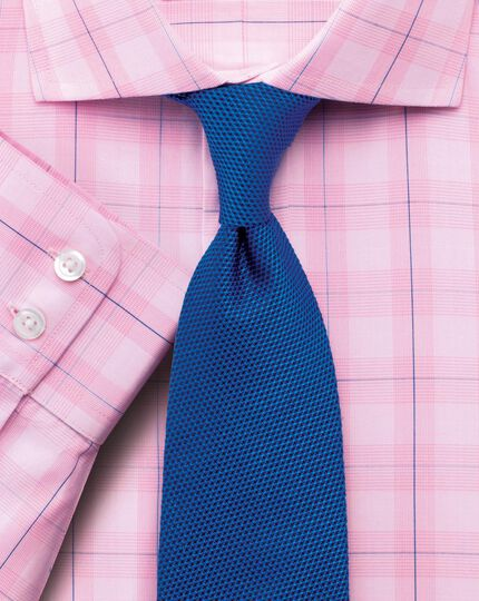 Classic fit semi-spread collar Prince of Wales check pink shirt