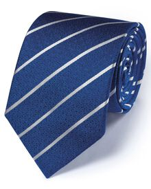 Royal and white silk classic textured stripe tie