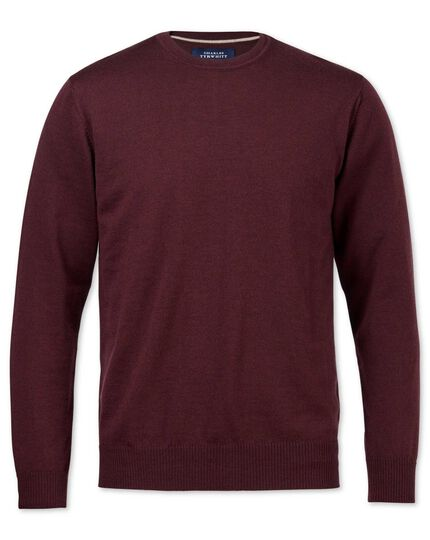 Wine merino wool crew neck jumper