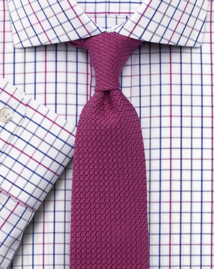 Slim fit non-iron cutaway collar large grid check pink and blue shirt