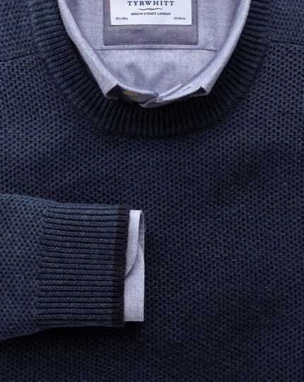 Indigo merino cotton crew neck sweater