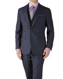 Blue check slim fit flannel business suit jacket