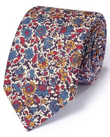 Multicolour cotton mix Italian luxury floral tie