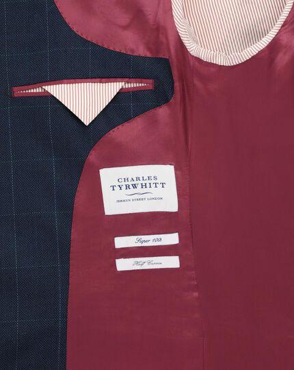 Mid blue classic fit windowpane travel jacket