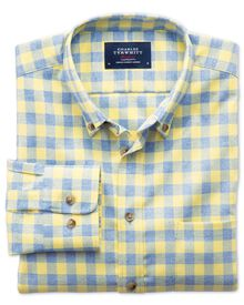 Classic fit non-iron gingham yellow and sky blue shirt