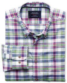 Classic Fit Hemd aus Popeline in rosa und grün mit Karos