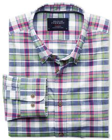 Slim fit poplin pink and green check shirt