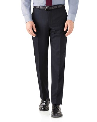 Navy classic fit hairline business suit trousers