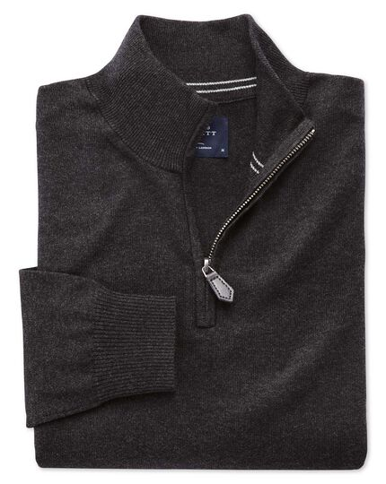 Charcoal cotton cashmere zip neck sweater