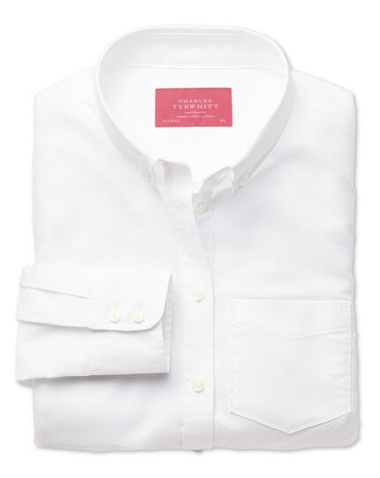 Women's semi-fitted cotton Oxford white shirt