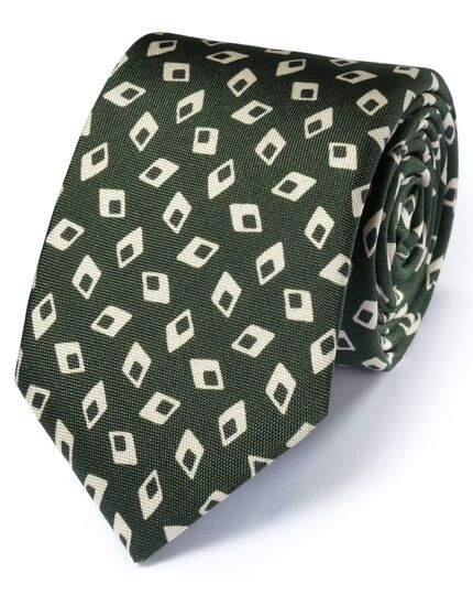 Forest green silk Italian luxury diamond tie