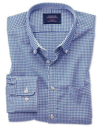 Slim fit button-down non-iron Oxford gingham royal blue shirt