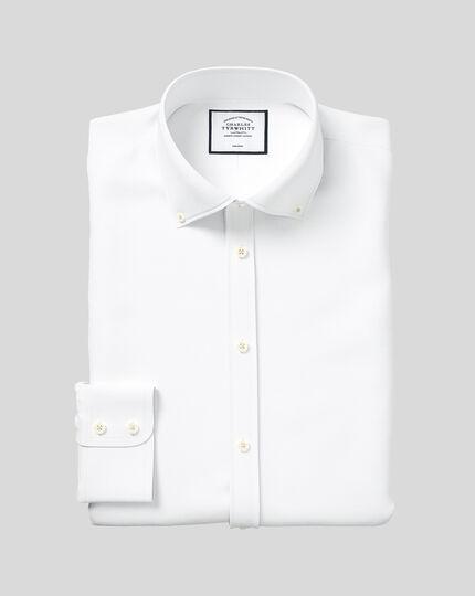 Bügelfreies Classic Fit Twill-Hemd mit Button-down Kragen in Weiß