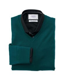 Pine green merino wool v-neck jumper