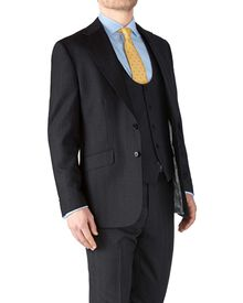 Charcoal classic fit herringbone business suit jacket