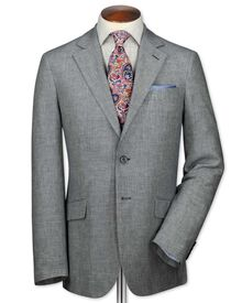 Slim fit navy and white linen jacket