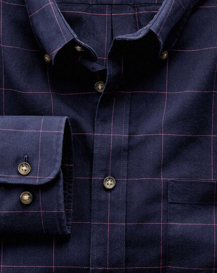 Slim fit navy and pink check tweed look shirt
