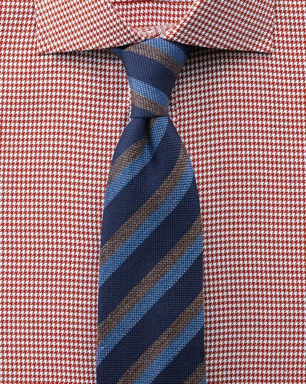 Extra slim fit semi-spread collar melange puppytooth copper shirt