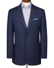 Navy classic fit wool linen suit jacket