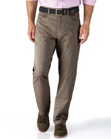 Stone classic fit 5 pocket textured dobby trousers
