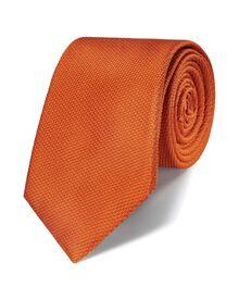 Orange silk classic plain tie