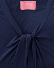 Women's navy knot detail jersey top