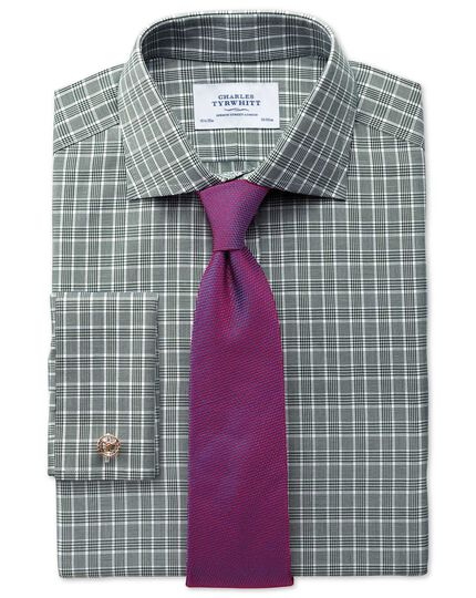 Extra slim fit Prince of Wales green shirt