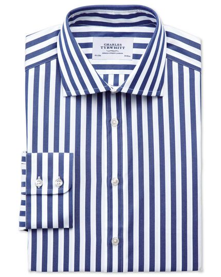 Classic fit semi-cutaway collar Egyptian cotton stripe navy shirt