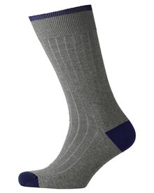 Grey ribbed socks
