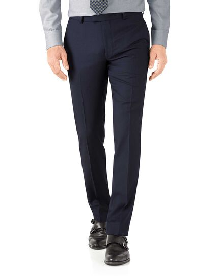 Navy herringbone slim fit Italian suit trousers