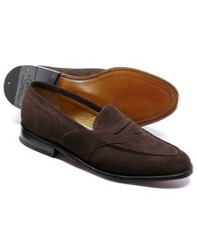 Brown Allet suede saddle loafer