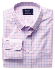 Classic fit pink and sky check non-iron poplin shirt
