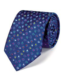 Navy silk luxury multi spot floral tie
