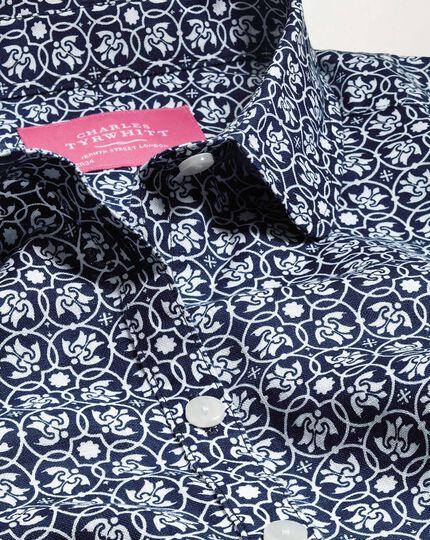 Women's semi-fitted cotton linen geometric print navy shirt
