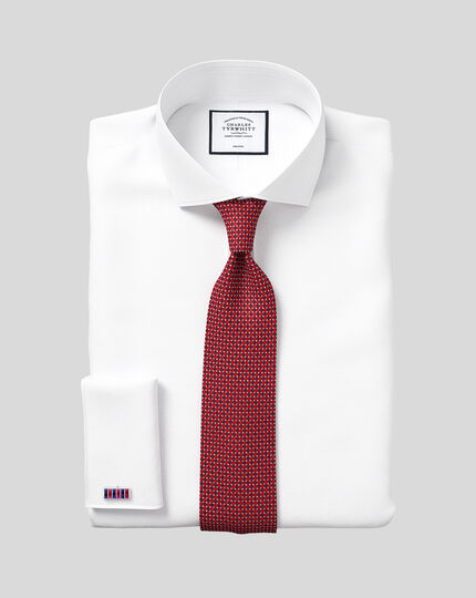 Classic fit spread collar non-iron poplin white shirt