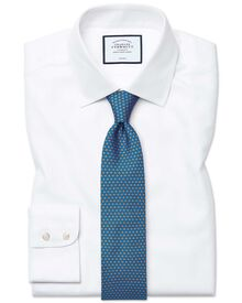Slim fit non-iron royal Panama white shirt