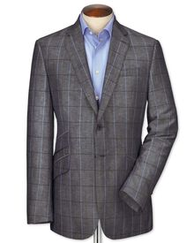 Slim fit navy check luxury wool linen jacket