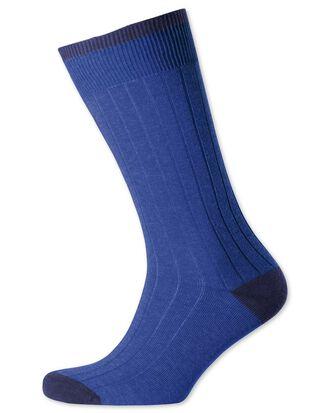 Rippstrick Socken in Königsblau