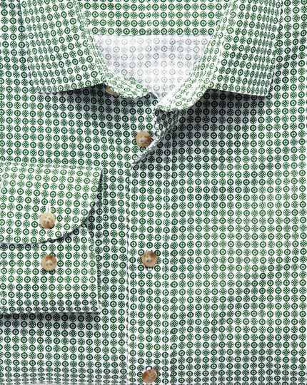 Classic fit green geometric print shirt