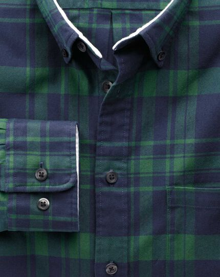 Classic fit navy and green check washed Oxford shirt
