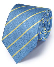 Light blue silk classic textured stripe tie