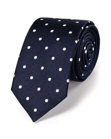 Navy and white silk classic spot slim tie