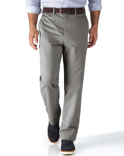 Silver grey classic fit flat front chinos