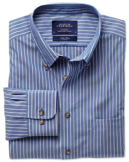 Classic fit non-iron poplin blue and white stripe shirt