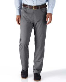 Grey classic fit 5 pocket textured dobby trousers