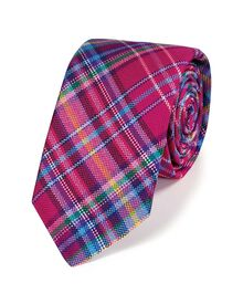Multi luxury special warp check geometric slim tie