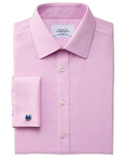 Slim fit non-iron micro spot pink shirt